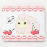 Cute kawaii pink fiesty sheep with cherries mouse pad