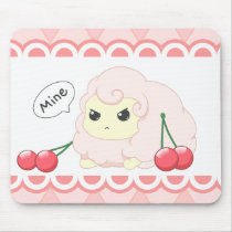 Cute kawaii pink fiesty sheep with cherries mouse pad