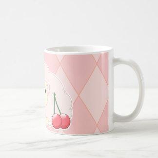 Cute kawaii pink fiesty sheep with cherries mug