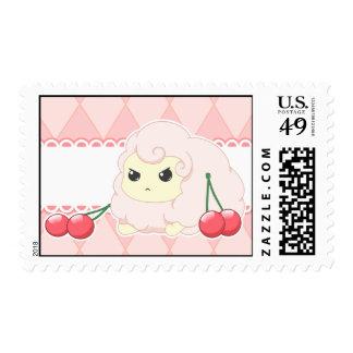 Cute kawaii pink fiesty sheep with cherries postage