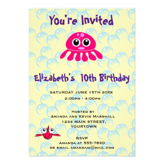 Cute Kawaii Pink Jellyfish Party Invitation Card