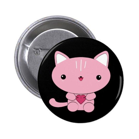 Cute kawaii Pink Kitty with Heart Button