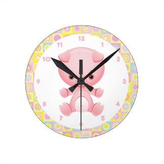 Cute Kawaii Pink Pig Round Clock