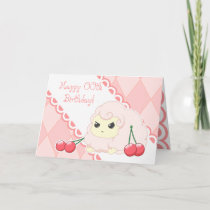 Cute kawaii pink sheep with cherries birthday card