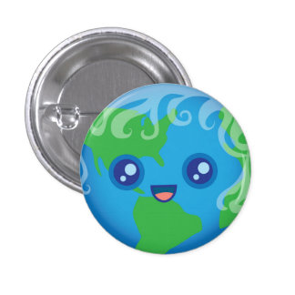 Cute Kawaii Planet Earth Character 1 Inch Round Button