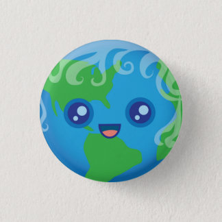 Cute Kawaii Planet Earth Character Pinback Button