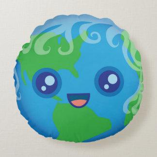 Cute Kawaii Planet Earth Round Pillow