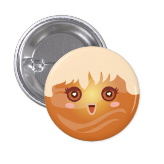 Cute Kawaii Planet Venus Character 1 Inch Round Button