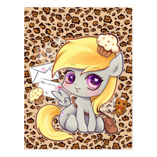 Cute kawaii postman pony on leopard print postcard