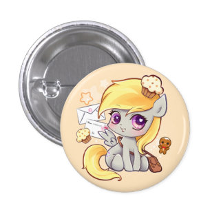Cute kawaii postman pony with letters and cupcakes 1 inch round button