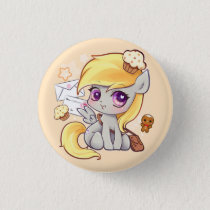 Cute kawaii postman pony with letters and cupcakes pinback button