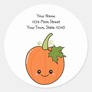 Cute Kawaii Pumpkin Round Stickers