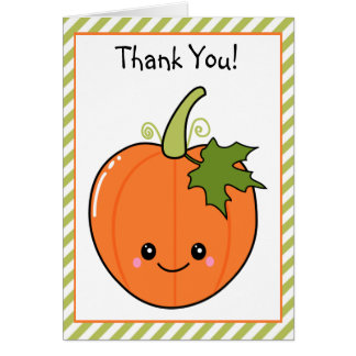 Cute Kawaii Pumpkin Thank You Cards
