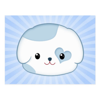 Cute Kawaii Puppy Dog Face in Blue and White Postcard