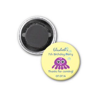 Cute Kawaii Purple Jellyfish Birthday Thank You Magnet