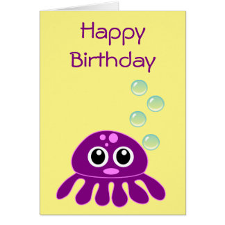 Cute Kawaii Purple Jellyfish Happy Birthday Card