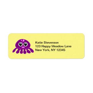 Cute Kawaii Purple Jellyfish Label