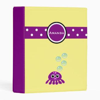 Cute Kawaii Purple Jellyfish with Blue Bubbles Mini Binder