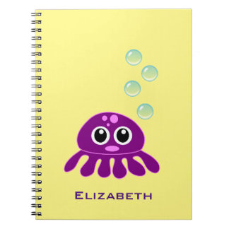 Cute Kawaii Purple Jellyfish with Blue Bubbles Notebook