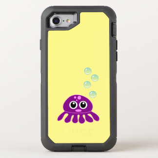 Cute Kawaii Purple Jellyfish with Blue Bubbles OtterBox Defender iPhone 8/7 Case