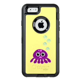 Cute Kawaii Purple Jellyfish with Blue Bubbles OtterBox Defender iPhone Case