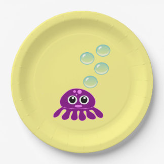 Cute Kawaii Purple Jellyfish with Blue Bubbles Paper Plate