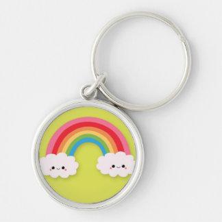 Cute Kawaii Rainbow and Clouds on Lime Green Keychain