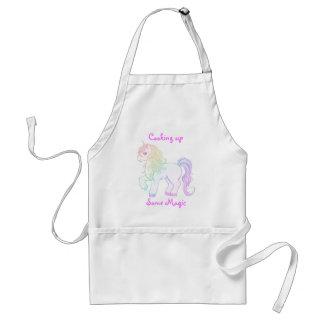 Cute kawaii rainbow colored unicorn pony adult apron