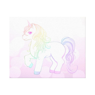 Cute kawaii rainbow colored unicorn pony canvas print