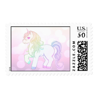 Cute kawaii rainbow colored unicorn pony postage