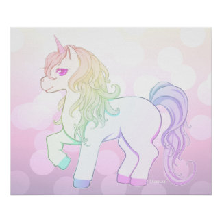 Cute kawaii rainbow colored unicorn pony poster