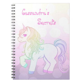 Cute kawaii rainbow colored unicorn pony spiral notebook