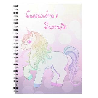 Cute kawaii rainbow colored unicorn pony spiral notebook