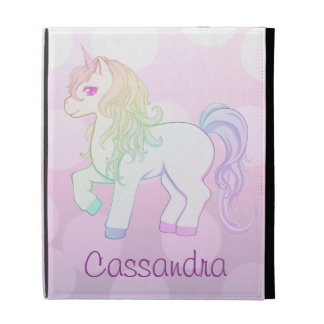 Cute kawaii rainbow colored unicorn pony with name iPad folio cases