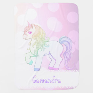 Cute kawaii rainbow colored unicorn pony swaddle blankets