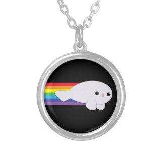 Cute Kawaii Rainbow Rocket Baby Seal iPhone 4 Case Round Pendant Necklace