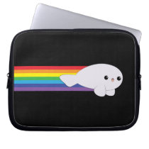 Cute Kawaii Rainbow Rocket Baby Seal laptop sleeve