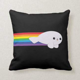 Cute Kawaii Rainbow Rocket Baby Seal pillow
