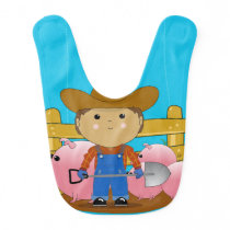 Cute Kawaii Rancher & Pigs Baby Bib