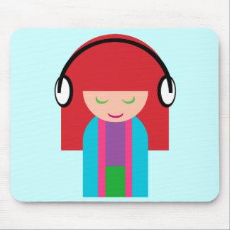 Cute Kawaii Redhead Girl Listening to Music Mouse Pad