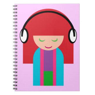 Cute Kawaii Redhead Girl Listening to Music Spiral Notebook