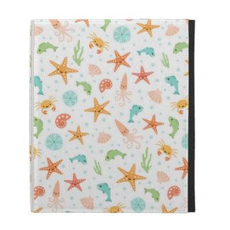 Cute kawaii sea life starfish squid crab pattern iPad folio covers