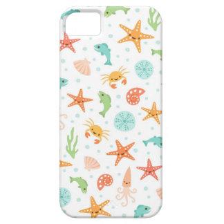 Cute kawaii sea life starfish squid crab pattern iPhone 5 cover