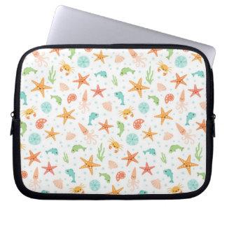 Cute kawaii sea life starfish squid crab pattern laptop sleeve