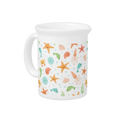 Cute kawaii sea life starfish squid crab pattern beverage pitcher