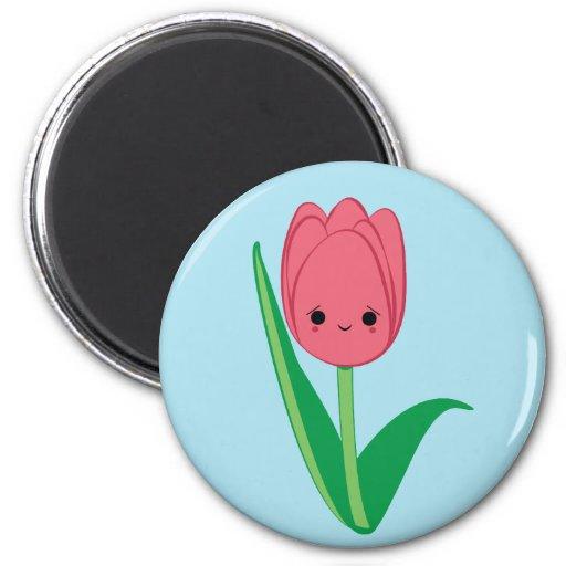 Cute kawaii shy pink tulip magnet