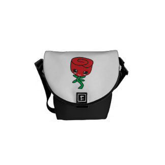 cute kawaii single red rose cartoon character courier bags