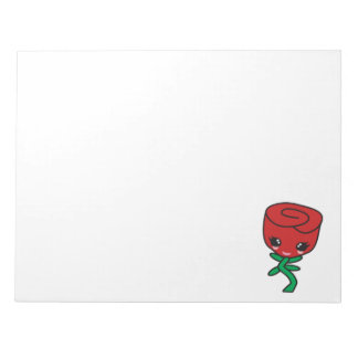 cute kawaii single red rose cartoon character memo notepads