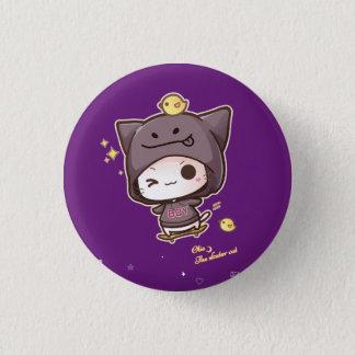 Cute kawaii skater cat wearing hoodie button