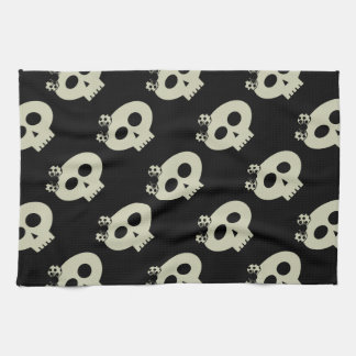 Cute Kawaii Skulls Black Kitchen Towel
